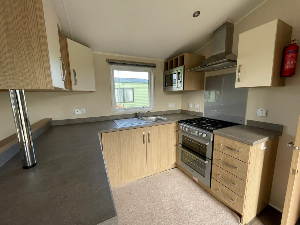 Kitchen in Willerby Brockenhurst Holiday Home, Bay View Holiday Park, North West, Morecambe Bay