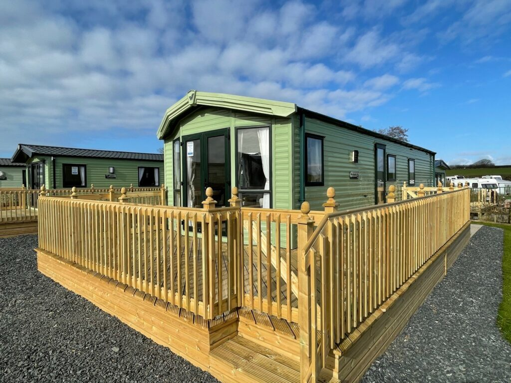 Exterior view of deck on Willerby Winchester Holiday Home at Bay View Holiday Park, North West, Morecambe Bay