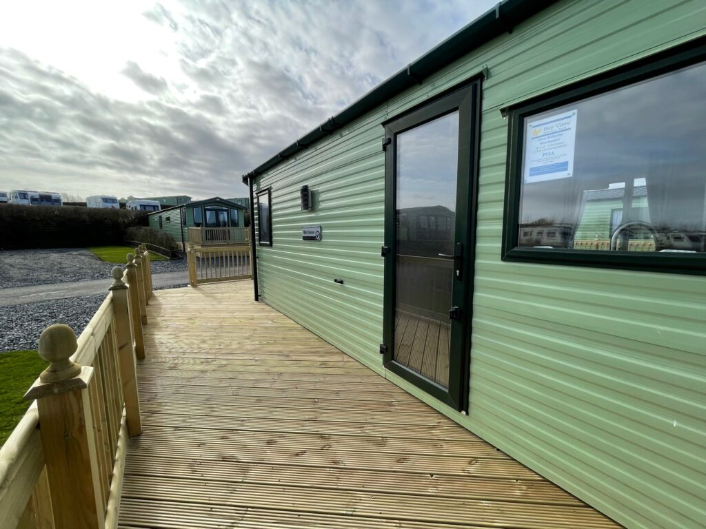 View of deck at Willerby Winchester Holiday Home at Bay View Holiday Park, North West, Morecambe Bay