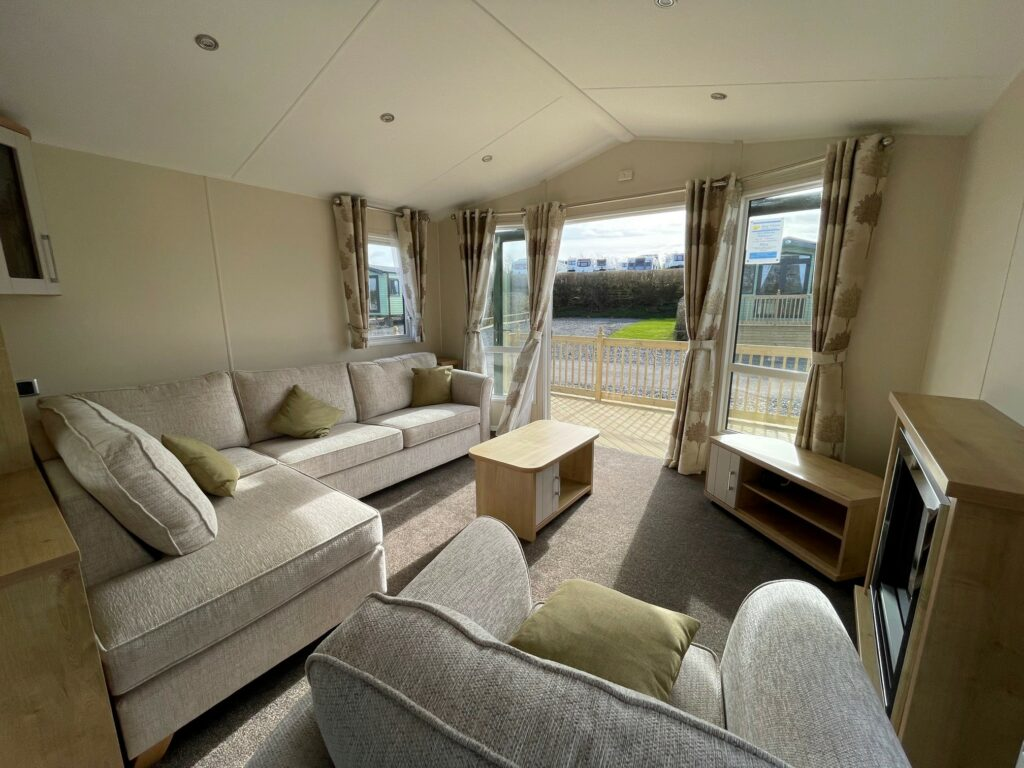 View of lounge in Willerby Winchester Holiday Home at Bay View Holiday Park, North West, Morecambe Bay