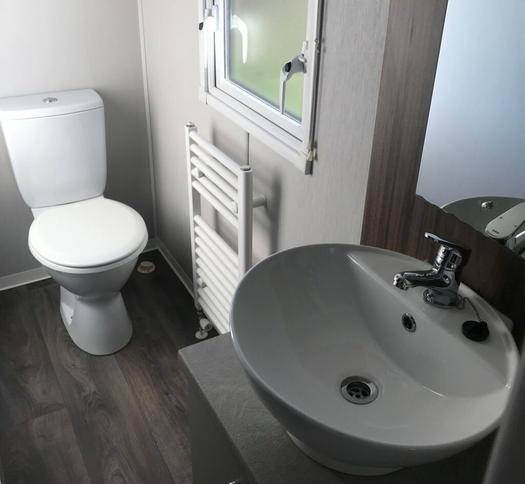 Bathroom in 3-bed at Bay View Holiday Park- Holgate