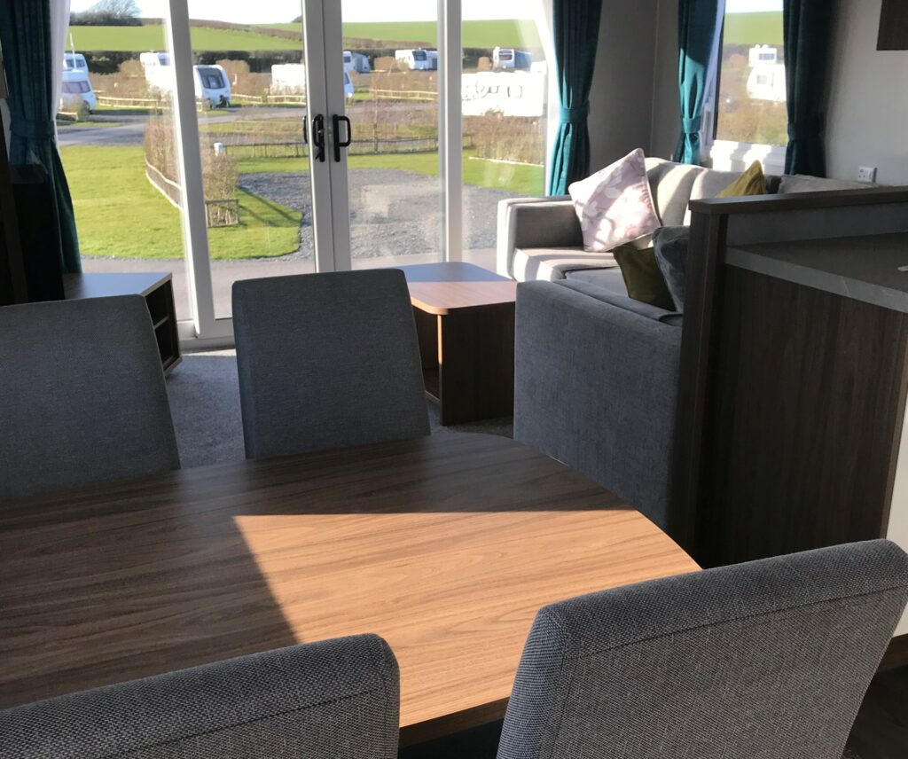 Dining table in holiday home at Willerby, Avonmore, Bay View Holiday Park- Holgate