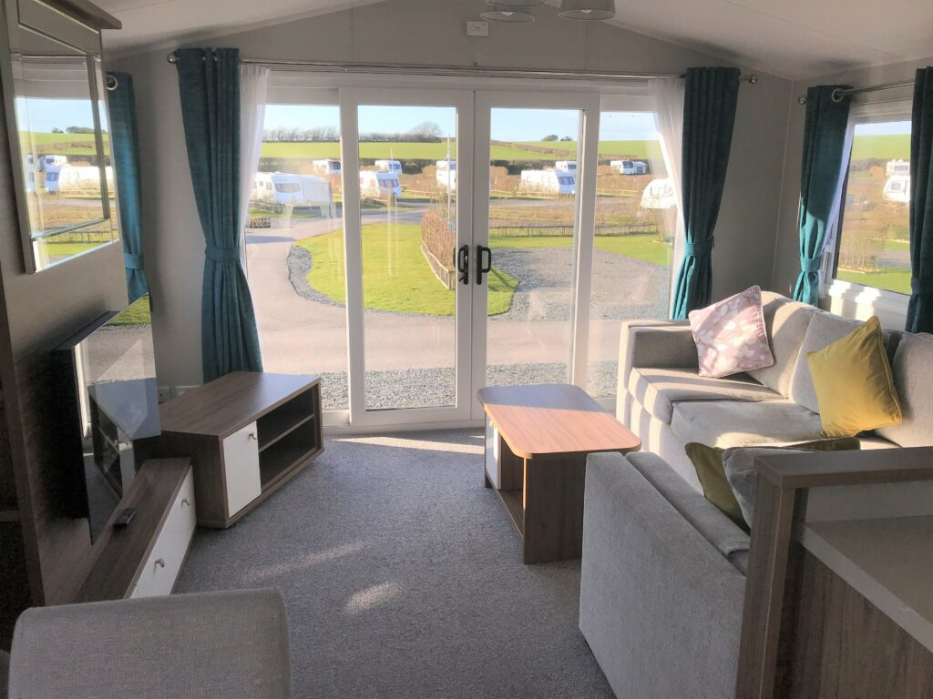 Lounge with view in unit at Willerby, Avonmore, Bay View Holiday Park- Holgate