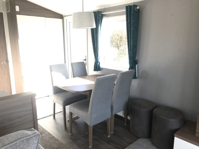 Sunny dining area at Willerby, Avonmore, Bay View Holiday Park- Holgate